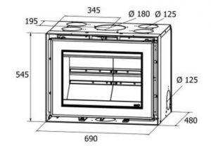 Dimensões do recuperador de calor a lenha Vista 70 da ADF