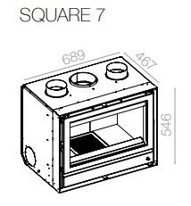 Dimensões do recuperador de calor a lenha Square 70 da Flamebox
