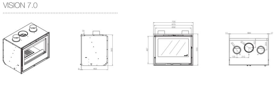 Dimensões do recuperador de calor a lenha Vision 7.0 da Flamebox