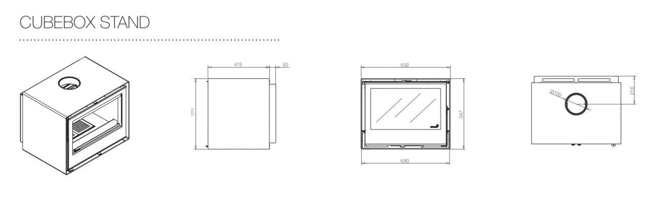 Caraterísticas da salamandra a lenha Cubebox Stand da Flamebox